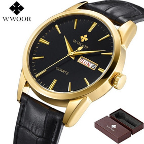 Relógio Masculino Wwoor Original Casual Preto/gold C/ Caixa