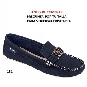 Mocasines Polo Hpc Para Dama Oro Y Azul Marino Mod. 8050