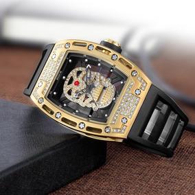 Reloj De Calavera Acero Inoxidable Con Zirconías Sumergible