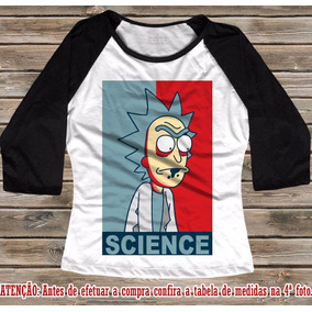 Baby Look Raglan 3/4 Rick E Morty Science Ciência Camisa