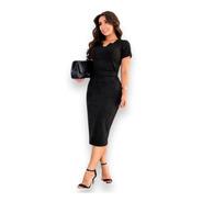 Vestido Tubinho Luxo Suede Moda Executiva