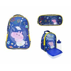 Kit Mochila Infantil Escolar Peppa Pig George Azul Original