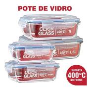 Kit 4 Potes De Vidro Herméticos Alta Qualidade Click Glass