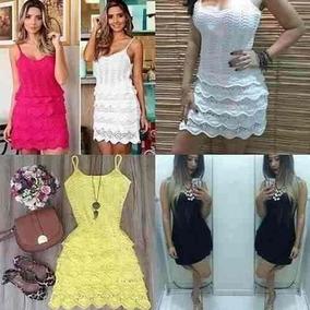 Vestido Feminino Curto Tricot Crochê Linha Babado Verão