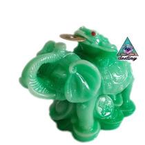 Elefante Y Rana D 3 Patas - Figura De Resina Tipo Jade Chino