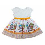 Vestido Infantil Festa Patati Patata Branco C/m 1 - 6 Anos