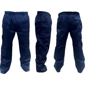 Pantalon Cargo Gabardina Azul - Negro