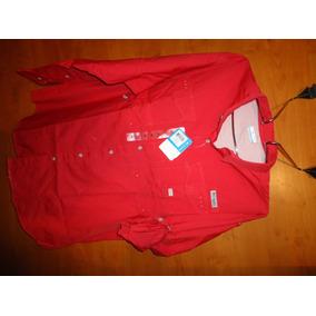 Columbia Red Pfg Camisa 100% Cotton Ideal Xxl Checar Medidas