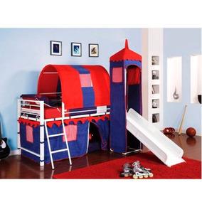 Cama Castillo Individual Infantil Con Resbaladilla Azul Niño