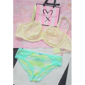 Victorias Secret Lencería Bra Encaje 38ddd Pantie G