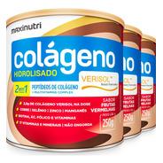 Colágeno Hidrolisado Verisol Antirrugas 3x250g Frutas Vermel