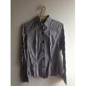 Camisa Manga Larga Blanca Con Rayas Grandes Negras De Zara