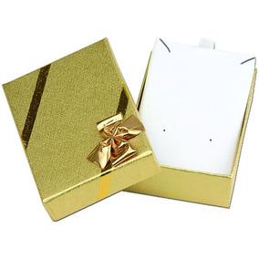 Caixinha Porta Jóia P/ Brinco E Corrente Dourada Com Laço
