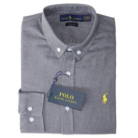 Camisa Social Ralph Lauren Cst Fit Cinza Masculino Original