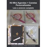 Kit 70 Mini Agendas + 70 Canetas Personalizadas Lembrança