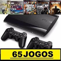 Ps3 Super Slim 320 Gb + 65 Jogos No Hd+2 Controles + Pes17