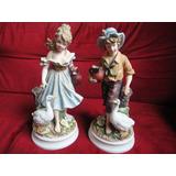 2 Porcelanas Niños Con Cisnes De La Misma Casa Capo Dimonte