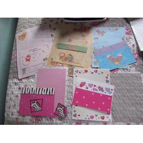Lote 2: Com 5 Papeis De Carta Com Envelopes