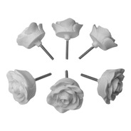 Puxador De Gaveta Flor Rosa Botão Branco Kit C/ 50 Unid 4 Cm