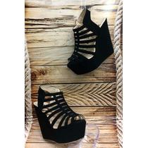 Sandalia Moda Plataforma Mujer Dama Negro Fabrica Calzado