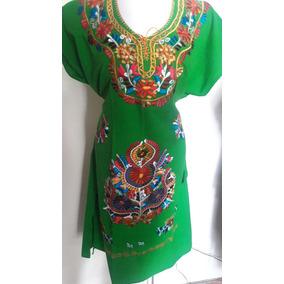 Vestido Tradicional Mexicano Estilo Kimona Bordado Textil