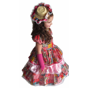 Vestido De Festa Junina Caipira Infantil Rosa / Rosa