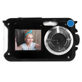 Camara Digital 24 Mp Contra Agua Doble Pantalla Selfie Flash