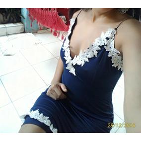 Vestido Azul Justo Com Aplicações Brancas