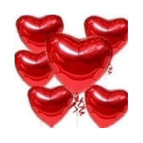 20 Balões Coraçao Vermelho 5 Polegadas 14x10 Cm