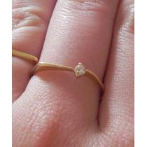 Anel Com Pedra De Diamante Brilhante Em Ouro18k-750 Legitimo