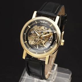 Relógio Automático De Luxo Skeleton , Pulseira Em Couro