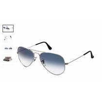 Oculos Rayban Aviador Rb 3025 Prata Azul Degrade Original
