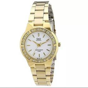 Regalo Para Mujer Reloj Q&q Original Dorado Acero Inoxidable