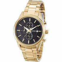Relógio Masculino Citzen Dourado Cronógrafo Caixa Média