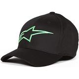 Alpinestars Hombre Logoastar Hat, Negro / Monster Green, Gr