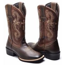 Bota Feminina Texana Country Bico Quadrado