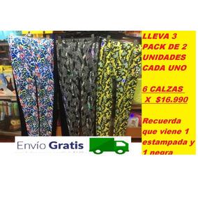 Pack De 6 Calzas Fratta -lisa Negra + Estampada/ Envio Grati