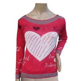 Blusa Tricot Trico Casaco Feminina Lã Inverno Frio Coracao