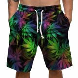 Bermuda Shorts Flor Ganja Cannabis Weed 420 Chá Psicodélico