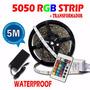 Cinta Tira Led Rgb 5050 X 5m + Controlador + Fuente De Poder