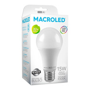 Pack X10  Macroled Lampara Led Bulbo A60 15w Bco Neutro E27