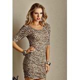 Vestido Fashion Oncinha, Malha Algodão- Gg=110-120 Cm Busto