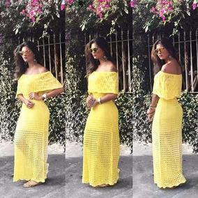 Vestido longo de renda amarelo mercadolivre