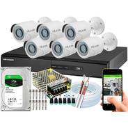 Kit 6 Câmeras Cftv Hikvision Full Hd 1080p 2mp Dvr 8 Canais