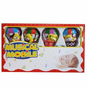 Móbile Musical Animais No Balão Giratório P/ Berço À Corda