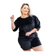 Conjunto Plush Feminino Plus Size Veludo Premium Quentinho