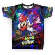 Camiseta Infantil Sonic Filme Estampa Total Camisa Blusa 02