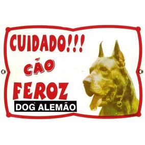 Placa De Advertência P/ Cães. Cuidado!! Cão Feroz Dog Alemão
