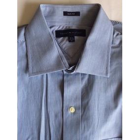 Camisa Social Azul Listrada Tommy Hilfiger Tam M