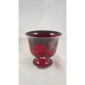 Copa Antigua De Murano,color Rubí,decorada En Plata,10 Cm Al